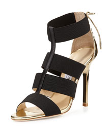 Dario Leather Ladder Sandal, Black/Gold