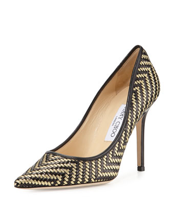 Aza Woven Leather Pump, Black/Gold