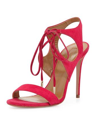 Colette Suede Ankle-Tie Sandal, Hot Pink
