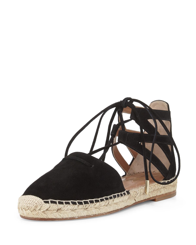 Aquazzura Belgravia Suede Closed-Toe Espadrille Sandal, Black, Women's, Size: 37.5B/7.5B