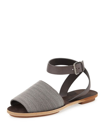 Beaded Ankle-Strap Flat Sandal
