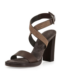 Halter-Wrap Monili Chain High-Heel Sandal, Espresso