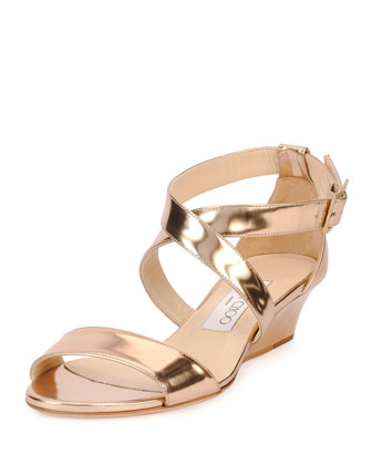 Chiara Metallic Crisscross Demi-Wedge Sandal, Nude