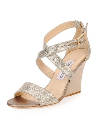 Fearne Glitter Crisscross Wedge Sandal, Champagne