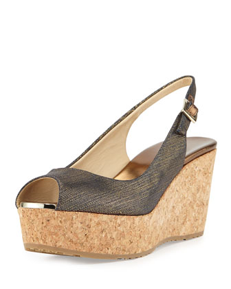 Praise Metallic Denim Slingback Wedge, Indigo/Gold