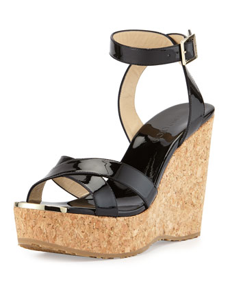Papyrus Patent Cork Wedge, Black