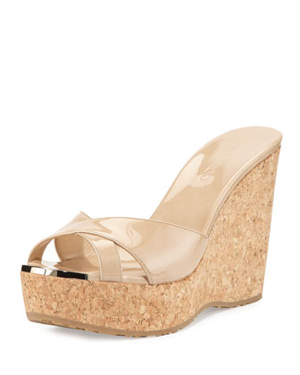 Perfume Patent Leather Crisscross Wedge, Nude