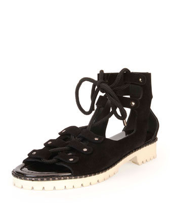 Wylde Suede Lace-Up Sandal, Black