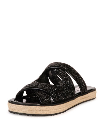 Nile Crystal Espadrille Slide, Black