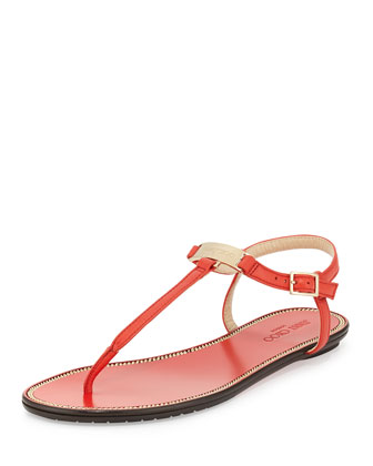 Wave Leather Thong Sandal, Fire