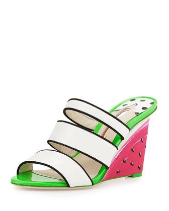 Brooke Watermelon Wedge Sandal, White/Black