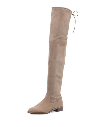 Lowland Suede Over-the-Knee Boot, Praline