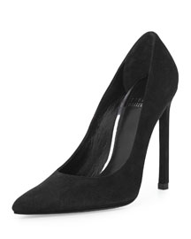 Queen Suede Pointy-Toe Pump, Black