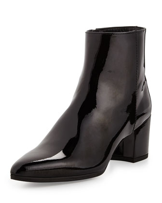 Zepher Patent Ankle Boot, Black