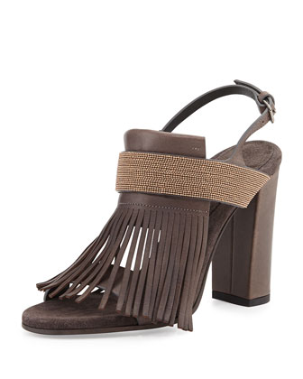 Kilted Open-Toe Sandal
