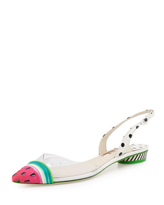 Bibi Watermelon Flat Sandal, White/Black