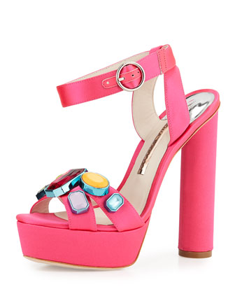 Amanda Jewel-Embellished Platform Sandal, Bright Rose