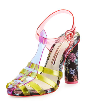 Rosa Jelly Pineapple Sandal, Violet/Yellow