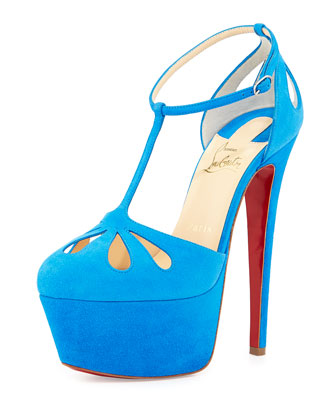 Mayada T-Strap Platform Red Sole Pump, Blue