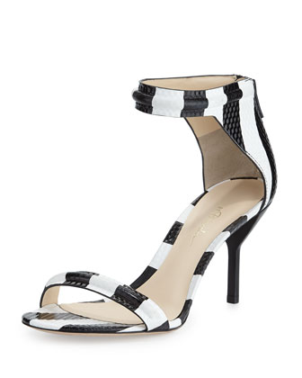 Martini Striped Mid-Heel Sandal, Black/White