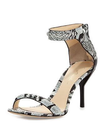 Martini Snake-Print Sandal, Black/White