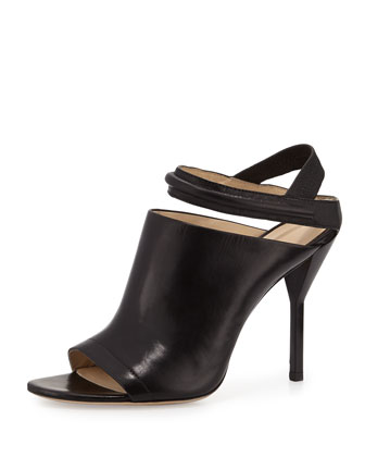 Martini Peep Toe Leather Sandal, Black