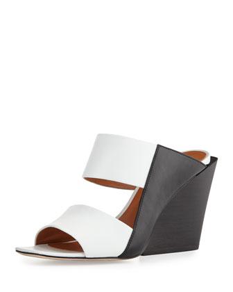 Cara Leather Wedge Slide Sandal, Black/White