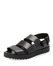 Alisha Leather Slingback Flat Sandal, Black