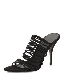 Mathilde Stretch Suede Strappy Sandal, Black