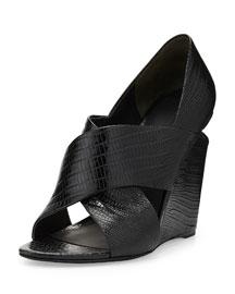 Ida Peep-Toe Lizard-Print Leather Sandal, Black