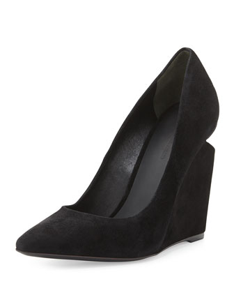 Ine Suede Pointed-Toe Wedge Pump, Black