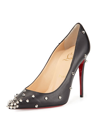 Degraspike Studded Leather Red Sole Pump, Black/Silver