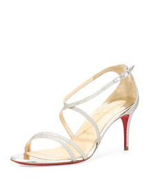 Gwinee Strappy Glitter Red Sole Sandal, Ivory/Beige