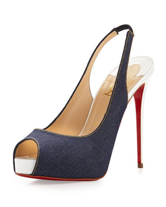 Private Number Denim Red Sole Pump, Blue/White