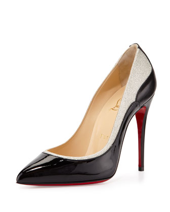 Tucskick GIittered Red Sole Pump, Black/Ivory