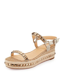 Cataclou Python-Embossed Studded Platform Red Sole Espadrille