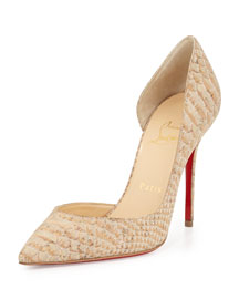 Iriza Half-d'Orsay Red Sole Pump, Cork