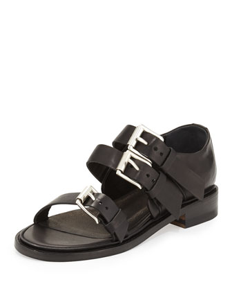 Hudson Multi-Strap Leather Sandal, Black
