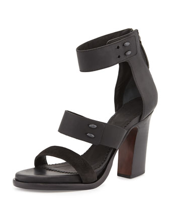 Starlin Leather Stud Sandal, Black