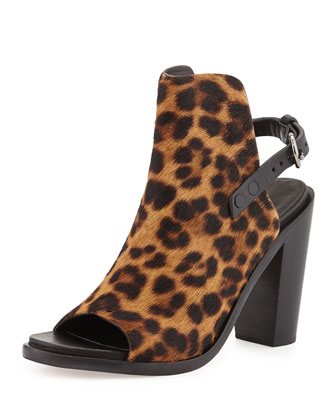 Wyatt Calf Hair Open-Toe Sandal, Leopard