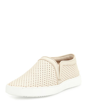 Kent Perforated Slip-On Sneaker, White