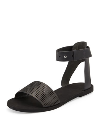 Sawyer Leather Ankle-Wrap Sandal, Black