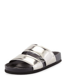 Orion Metallic Leather Double-Band Slide, Pewter