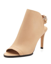 Aden Leather Slingback Bootie, Nude