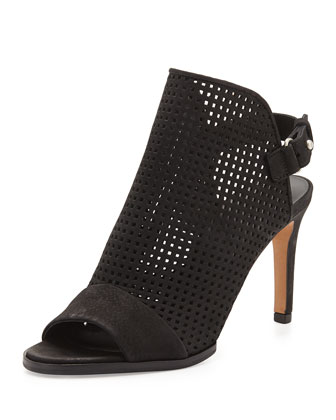 Aden Perforated Nubuck Bootie, Black