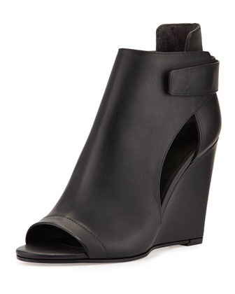 Katia Leather Wedge Bootie, Black