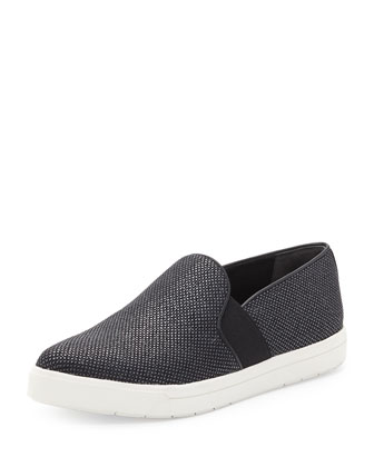 Pierce Point-Toe Woven Slip-On, Black