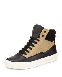 Newman Leather-Canvas High-Top Sneaker, Black/Natural