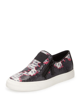 Snake-Print Side-Zip Skate Shoe