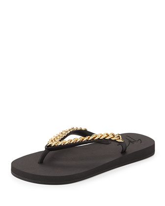Chain-Strap Rubber Thong Sandal, Black/Gold